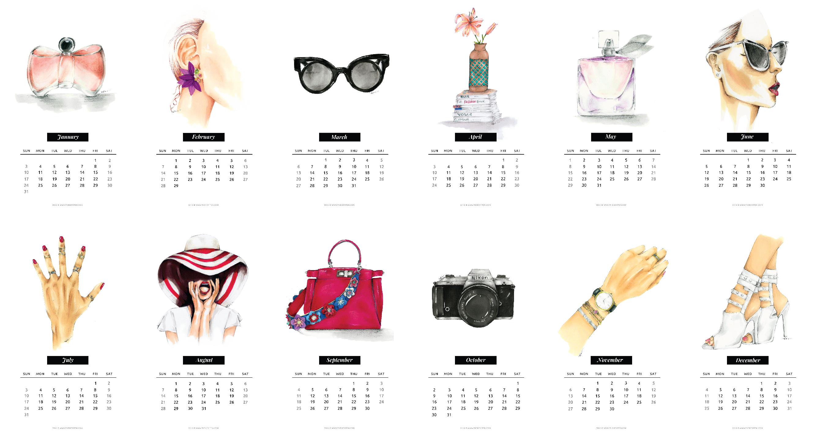 photo regarding Printable Fashion called Absolutely free Printable Model Calendar 2016 - The Secret ItemThe Main Products